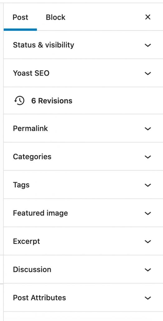 blog post settings